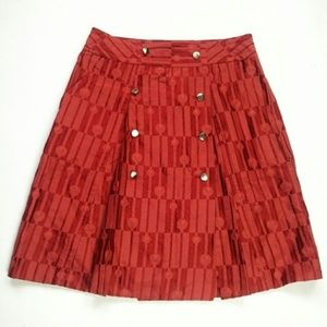 New Marc Jacobs red silk pleated wrap skirt 4